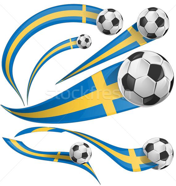 Svédország zászló szett futballabda futball absztrakt Stock fotó © doomko