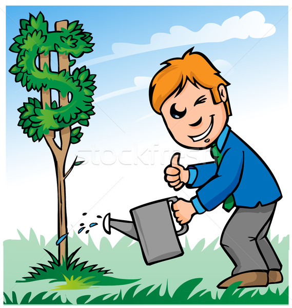 Stock photo: business man cartoon watering dollar tree
