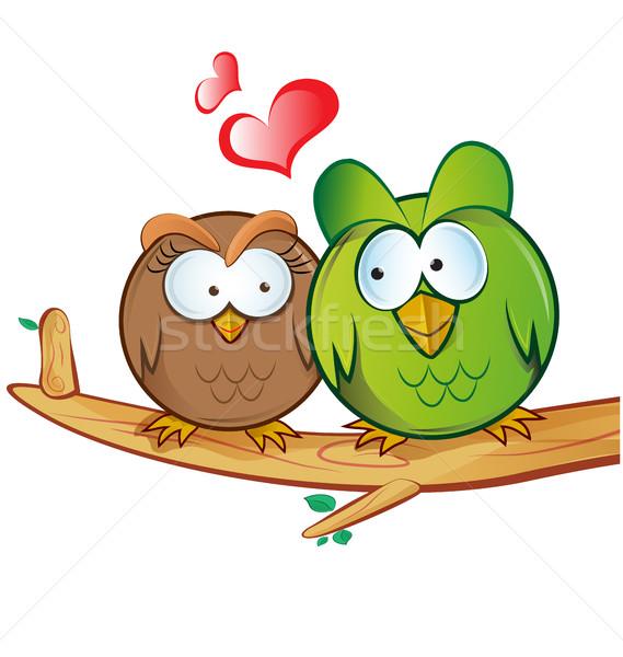Baykuş karikatür sevmek kalp öpücük renk Stok fotoğraf © doomko