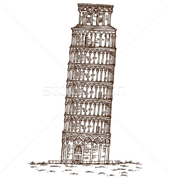 pisa tower hand draw on white background Stock photo © doomko