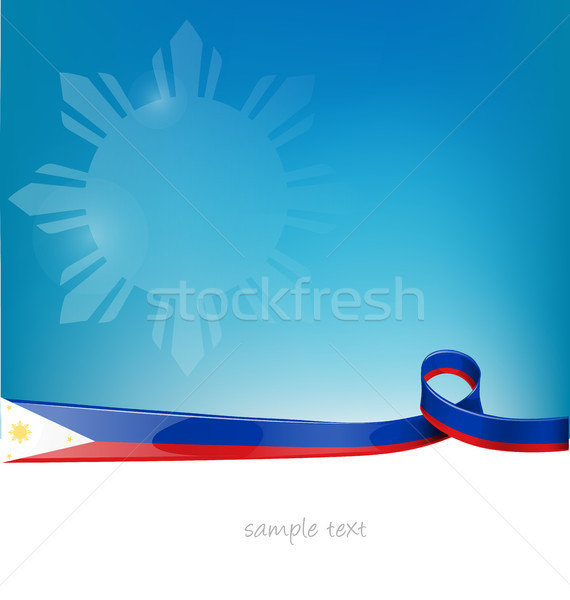philippines ribbon flag on blue sky background Stock photo © doomko