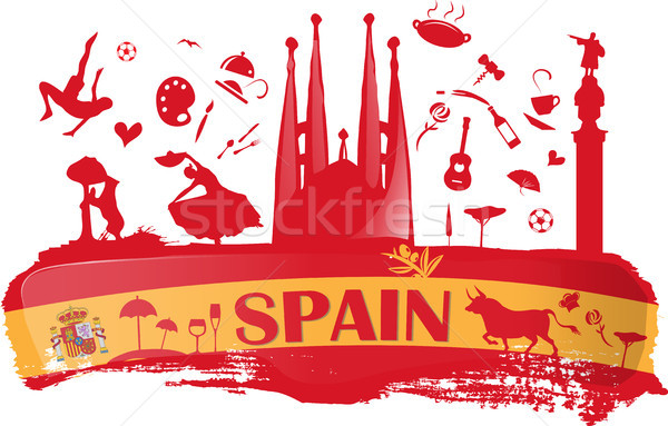 spain background with flag and symbol Stock photo © doomko