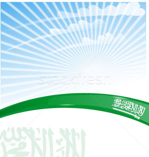 Arábia Saudita fita bandeira céu abstrato assinar Foto stock © doomko