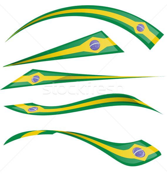 Бразилия флаг набор белый бумаги Футбол Сток-фото © doomko