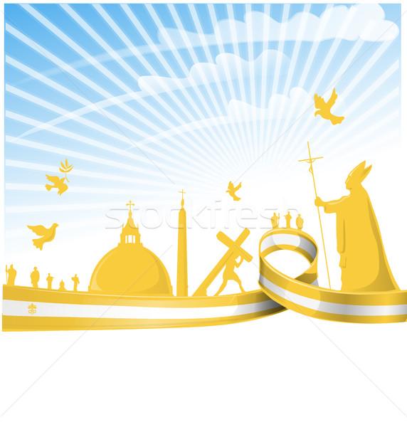 Vatikán zászló égbolt terv kereszt madár Stock fotó © doomko