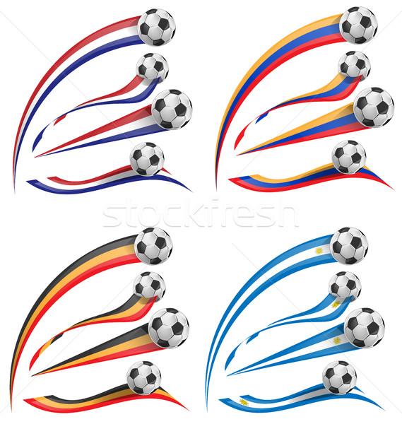フラグ セット サッカーボール 孤立した スポーツ サッカー ストックフォト © doomko