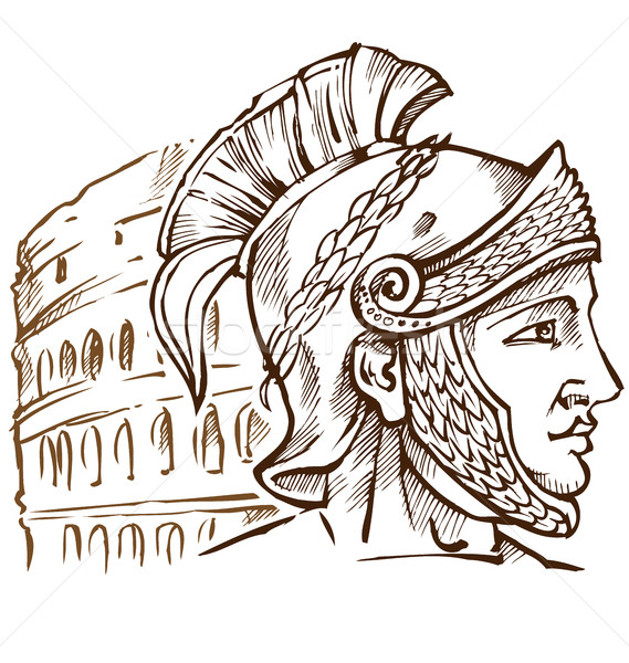 roman warrior on colosseum background Stock photo © doomko