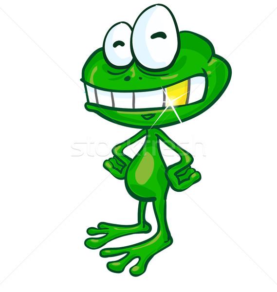 Eğlence kurbağa karikatür altın diş beyaz Stok fotoğraf © doomko