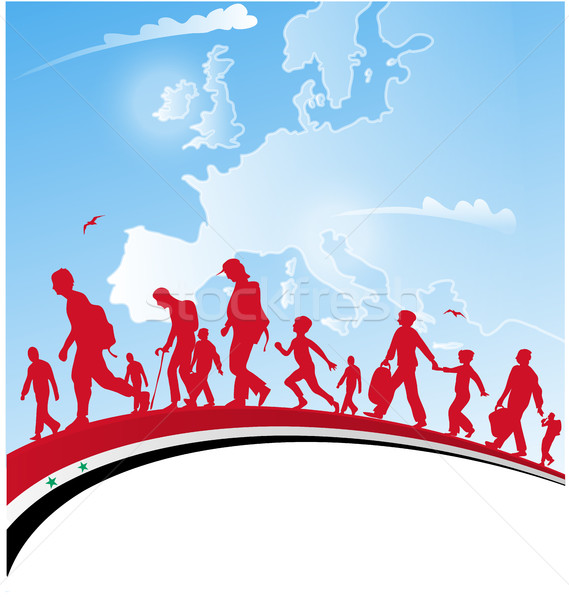 Immigration personnes pavillon Europe carte famille Photo stock © doomko