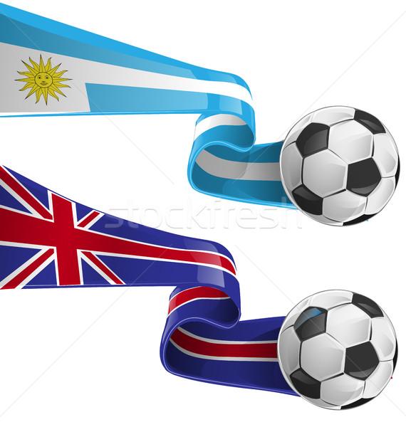 ウルグアイ イングランド フラグ サッカーボール サッカー 背景 ストックフォト © doomko