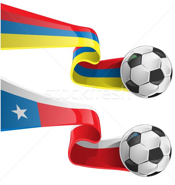 Chile Colombia zászló futballabda futball háttér Stock fotó © doomko