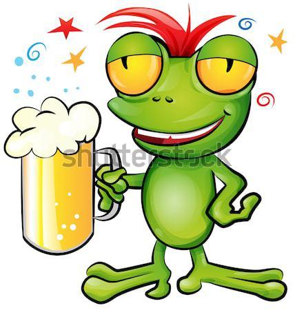sexy girl frog  cartoon with schooner beer Stock photo © doomko