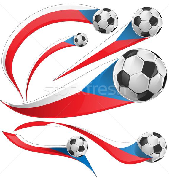Tsjechische Republiek vlag ingesteld voetbal geïsoleerd voetbal Stockfoto © doomko