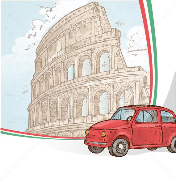 ローマ 手 描画 車 建物 旅行 ストックフォト © doomko