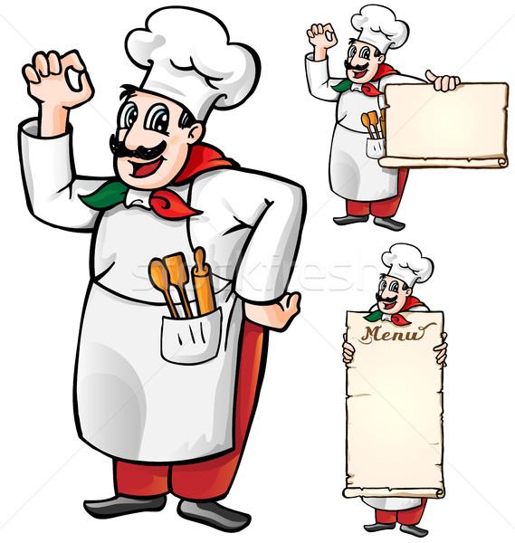 italian chef set isolated Stock photo © doomko