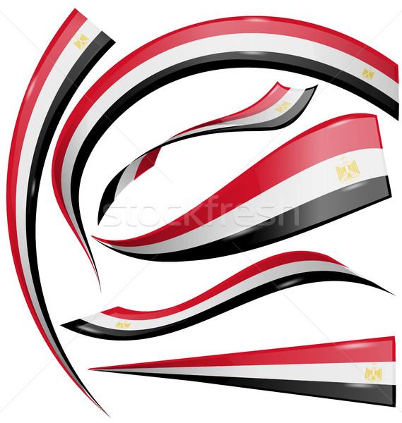 egypt flag set isolated on white background Stock photo © doomko