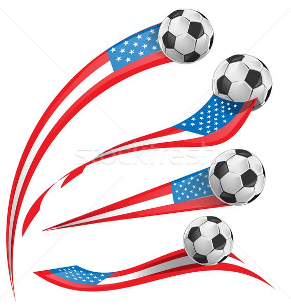 США флаг набор футбольным мячом Футбол спорт Сток-фото © doomko