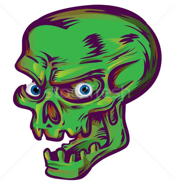 緑 頭蓋骨 スケッチ デザイン 白 顔 ストックフォト © doomko