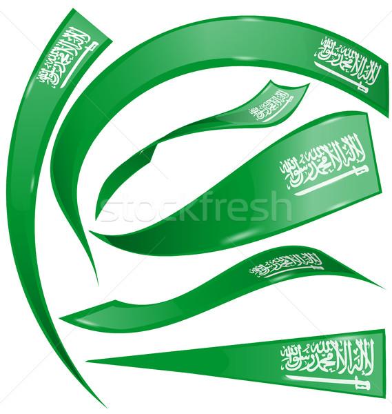 Suudi Arabistan bayrak ayarlamak beyaz imzalamak yeşil Stok fotoğraf © doomko