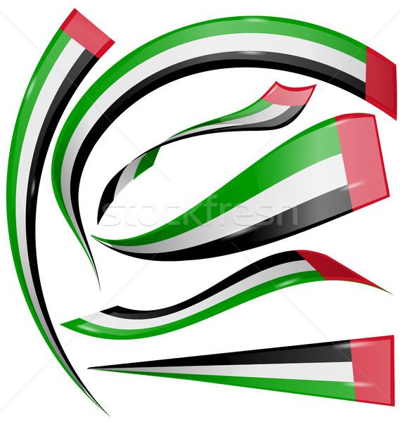 Egyesült Arab Emírségek zászló szett izolált fehér művészet Stock fotó © doomko