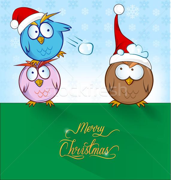 смешные совы Cartoon Рождества счастливым снега Сток-фото © doomko