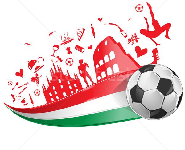 商业照片 / 矢量图: 意大利国旗 · 符号 ·集· 足球 ·酒· 运动