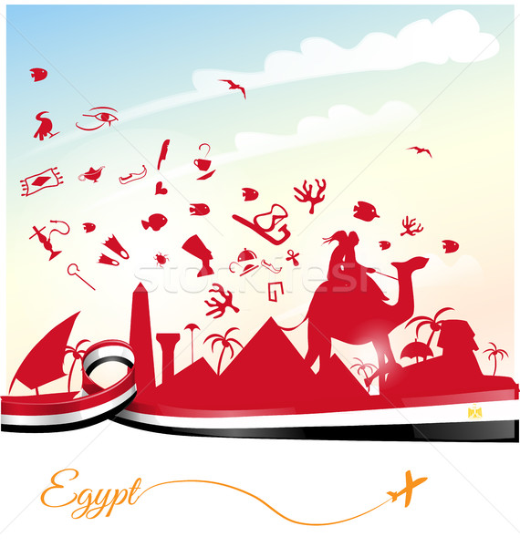 Egito bandeira símbolo edifício projeto deserto Foto stock © doomko