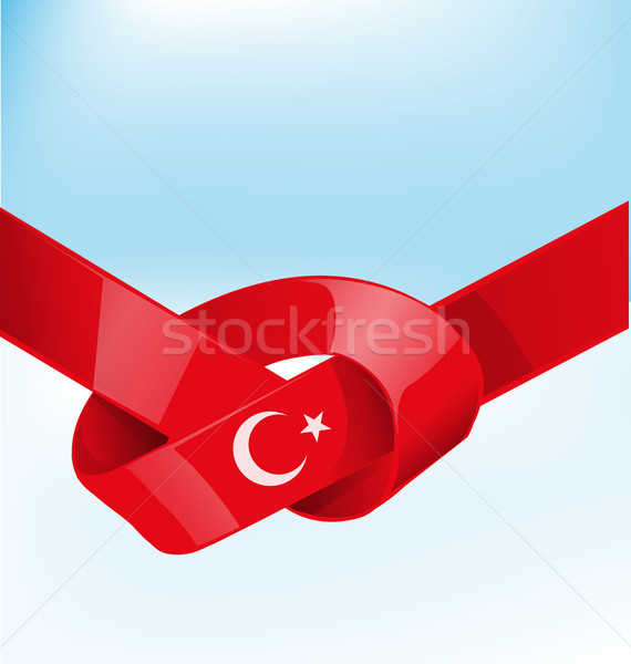 turkey ribbon flag on bue sky background Stock photo © doomko