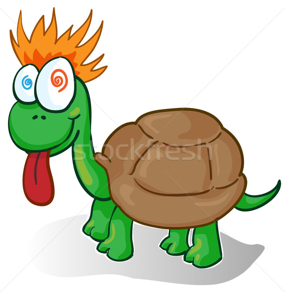 Vector illustration of a foolish cartoon turtle Stock photo © doomko