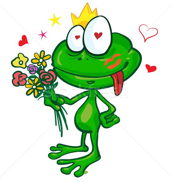 カエル 漫画 花 孤立した 白 笑顔 ストックフォト © doomko