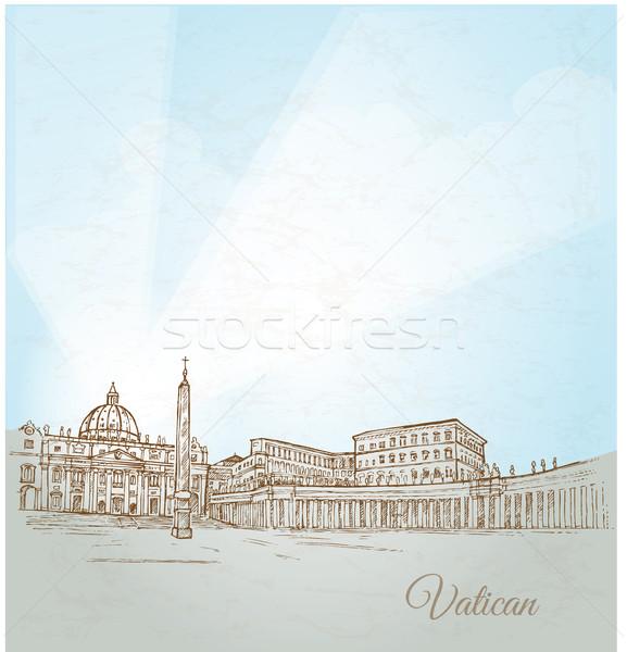Città del Vaticano mano disegnare carta costruzione sfondo Foto d'archivio © doomko