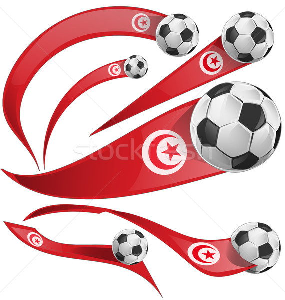 Tunísia bandeira conjunto futebol isolado branco Foto stock © doomko