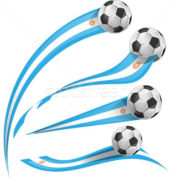 Argentinië vlag ingesteld voetbal sport voetbal Stockfoto © doomko