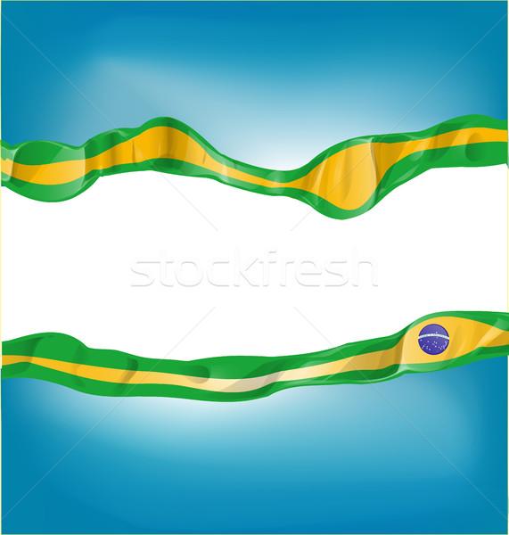 Brezilya bayrak beyaz gökyüzü arka plan sanat Stok fotoğraf © doomko