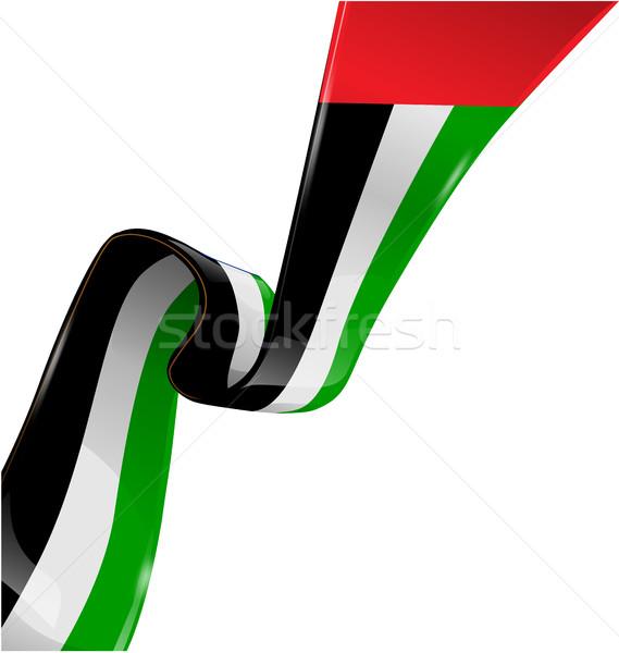 Birleşik Arap Emirlikleri şerit bayrak beyaz sanat imzalamak Stok fotoğraf © doomko