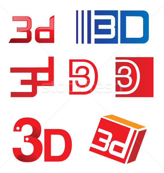 3D シンボル セット 孤立した 白 にログイン ストックフォト © doomko