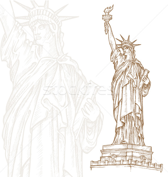 Stock photo: statue of liberty  hand draw on white background
