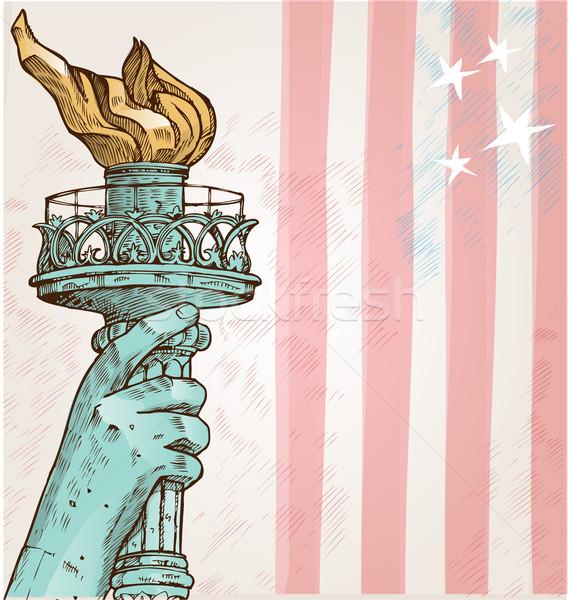 Estatua libertad antorcha bandera de Estados Unidos bandera arquitectura Foto stock © doomko