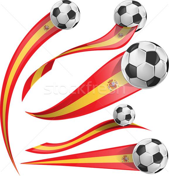 spain  flag set with soccer ball Stock photo © doomko