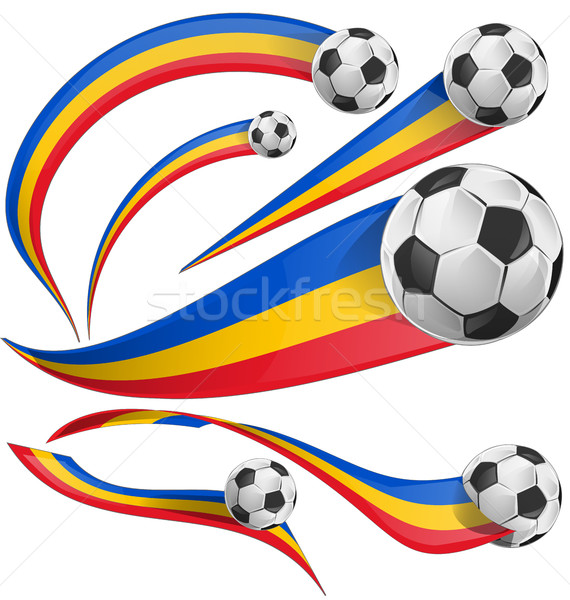 Сток-фото: Румыния · флаг · набор · футбольным · мячом · Футбол · аннотация