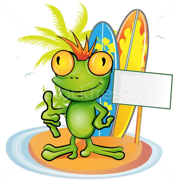 frog cartoon surfer on island background Stock photo © doomko