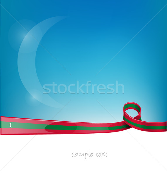 maldives ribbon flag on blue sky background Stock photo © doomko