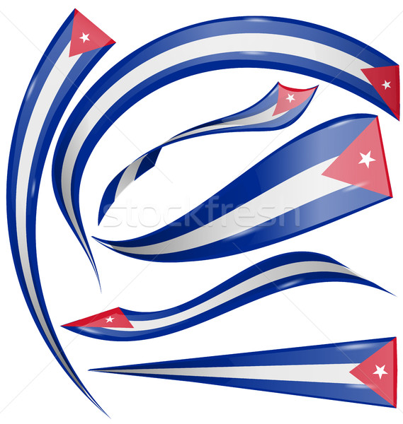 Küba bayrak ayarlamak yalıtılmış beyaz dizayn Stok fotoğraf © doomko