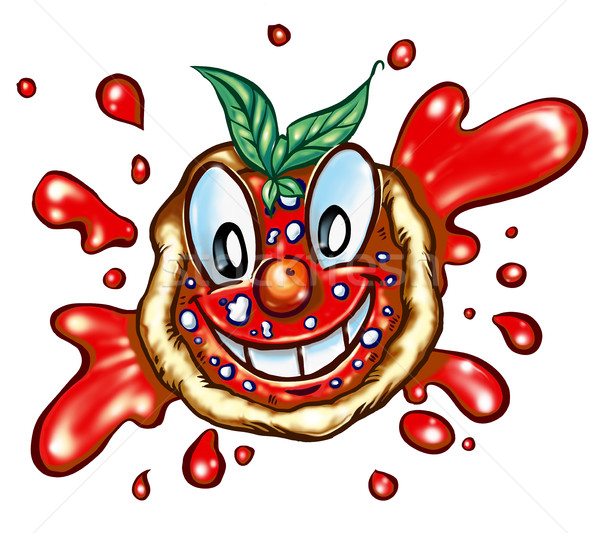 幸せ ピザ 漫画 白 食品 背景 ストックフォト © doomko