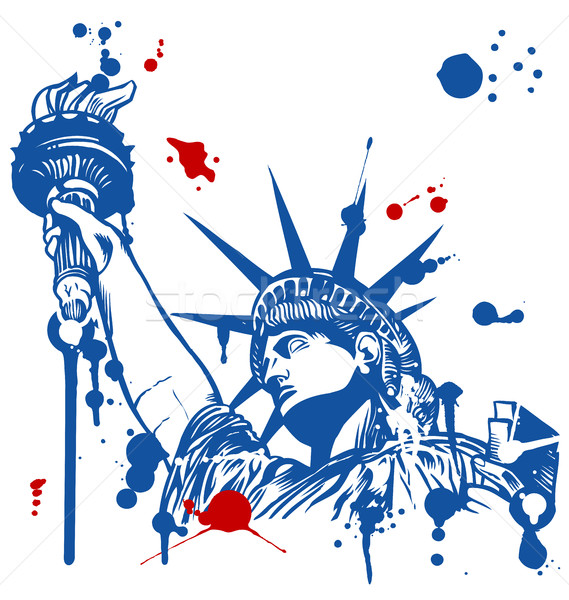 statue of liberty with torch with ink dripping Stock photo © doomko