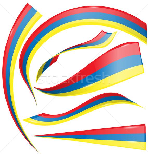 Colombia szett zászló izolált fehér absztrakt Stock fotó © doomko