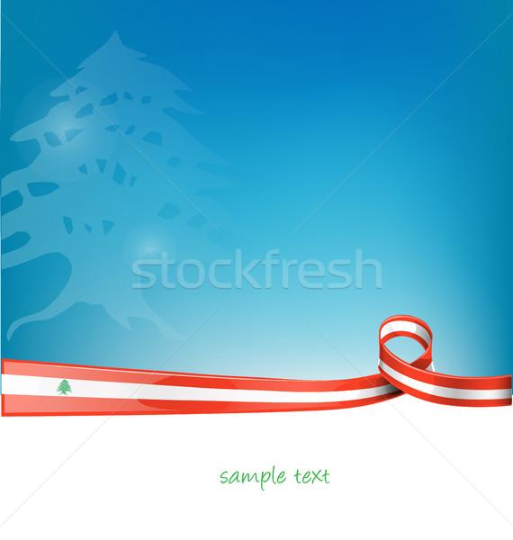 Libanon szalag zászló kék ég terv művészet Stock fotó © doomko