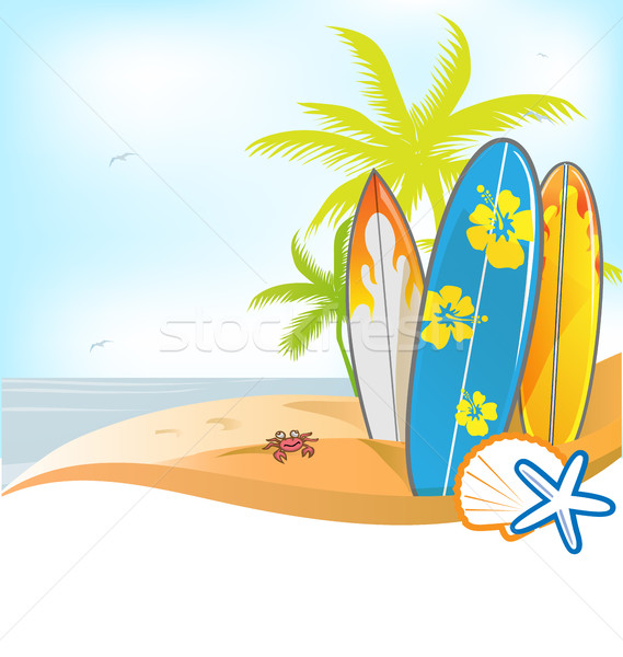 summer background with surboard Stock photo © doomko