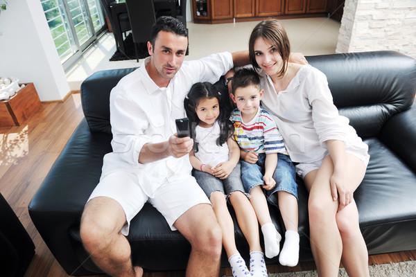 Famiglia tv moderno home felice Foto d'archivio © dotshock