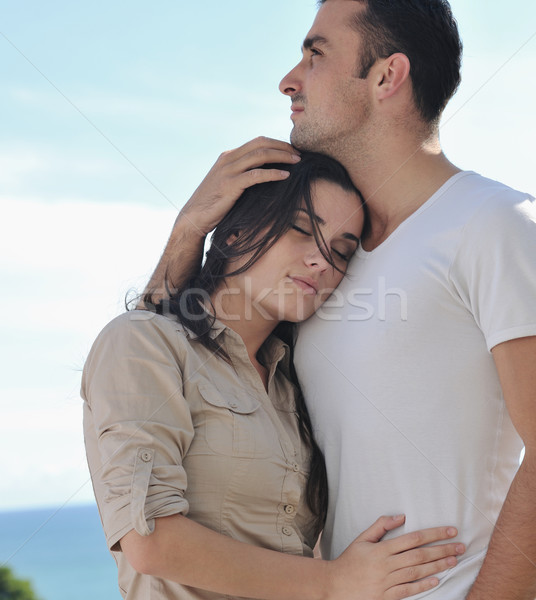 Stock photo: couple relaxing on balcony